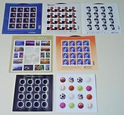 Combo (7 x 16)  MUSIC Icons, PARKS, ECLIPSE, BALLS of US Postage Forever Stamps
