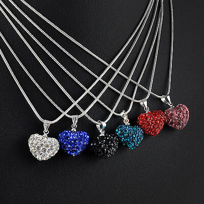 Fashion Crystal Heart Silver Plated Necklace Jewelry Pendant Chain gift