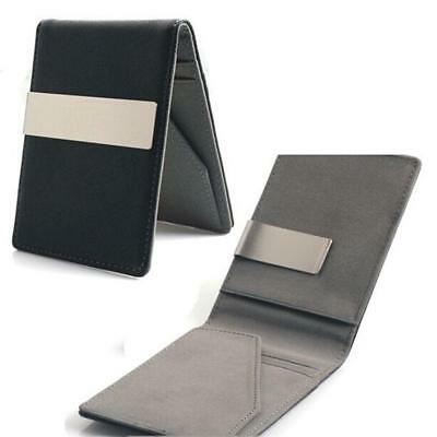 NEW Mens Pu Leather Money Clip Slim Wallets ID Credit Card Holder Bifold Purse