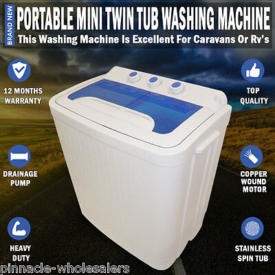 NEW Portable 4KG Mini Washing Machine Twin Tub Dryer For Caravan Camping RV