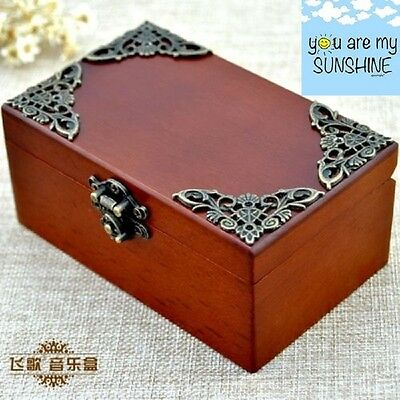 Vintage Rectangle jewelry Wind Up Music Box : YOU ARE MY SUNSHINE
