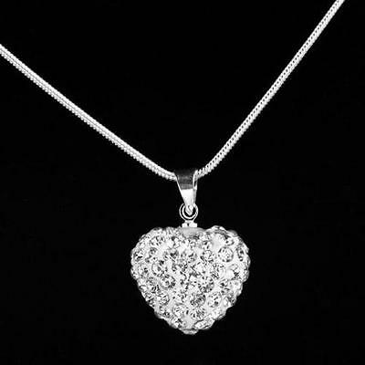 Fashion Crystal Heart Silver Plated Necklace Jewelry Pendant Chain women