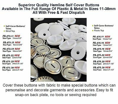 Hemline Self Cover Buttons Shells Metal & Plastic All Sizes 11 15 19 22 29 38mm