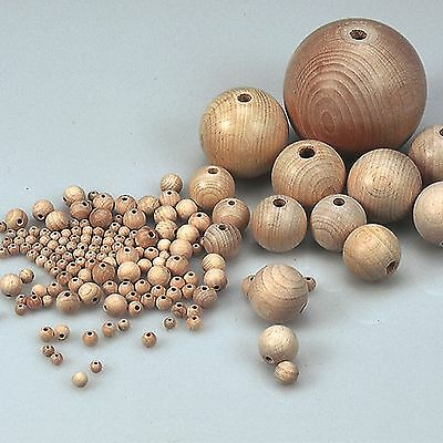 30mm Wooden Beads 6mm Hole Round Natural Untreated Balls Beechwood - 50 Pcs