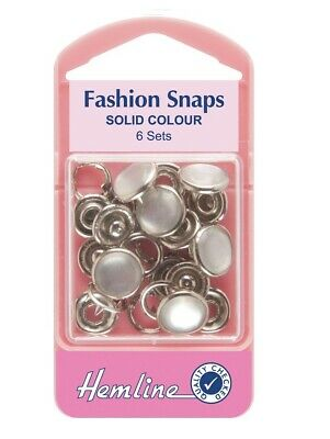 Hemline 11mm Pearl Fashion Snaps (Solid Top) Button Alternative (Set Of 6)