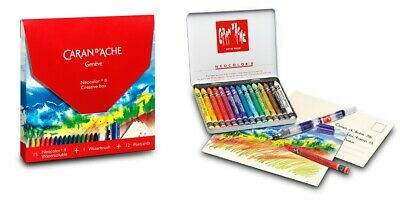 Caran Dache Neocolor II Creative Box (15 Wax Pastels Waterbrush & 12 Postcards)