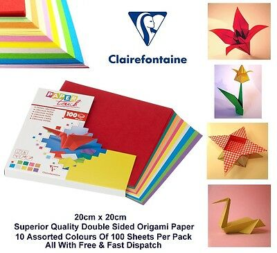 Origami Paper 20 x 20cm Double Sided Multicolour Paper 80gsm 100 Sheets (5 Pack)