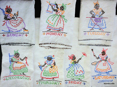 Tea Towel x 7 Linen Black Americana Days Week 1940s Embroidered Maid at Work Vtg