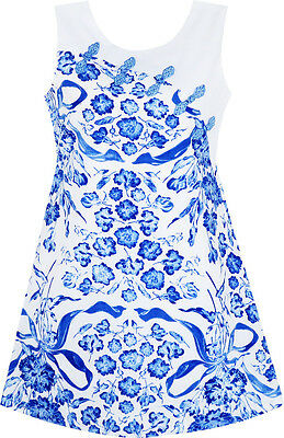 Girls Dress Blue White Porcelain Floral Printed Knot Button Size 7-14
