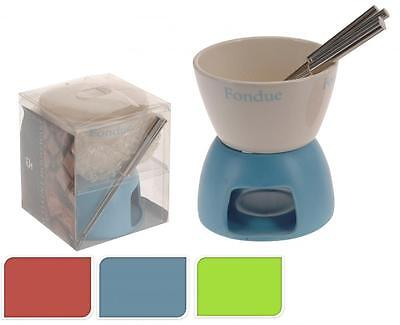 Ceramic Cheese Chocolate Tea Light Candle Party Fondue Set Pot with 4 Forks