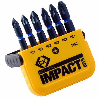 "CK T4511 IMPACT RATED 6 PIECE SET OF POZI (PZ) 50mm (2"") LONG SCREWDRIVER BITS"