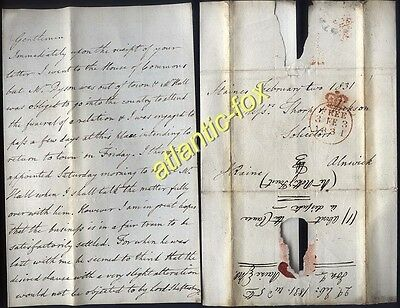 1831 FREE letter Jonathan Raine M.P. to Mr Thorp in ALNWICK