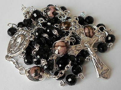 GORGEOUS ✫ Black Crystal/Natural Rhodonite ✫ ROSARY Mary With Angels Catholic