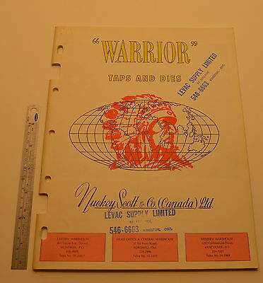 #J75 Vintage WARRIOR UK Taps and Dies Catalog Suggested Price Schedule Book