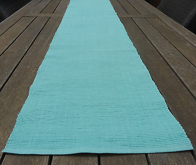 Table Runner - Ice Blue Or Pale Aqua Table Runner 34 X 180Cm Cotton Ribbed Fab