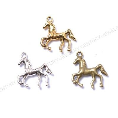 NP874 10Pcs Tibet Silver Golden Horse Charm Pendant beaded Jewelry Finding 23MM