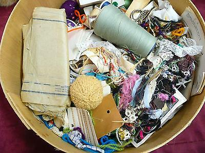 Vintage Large Sewing Lot in old wooden cheese wheel box needles thread patterns