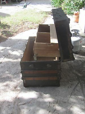 1800's Antique Victorian Flat Top Steamer Trunk Chest  with RARE Lift up Tray