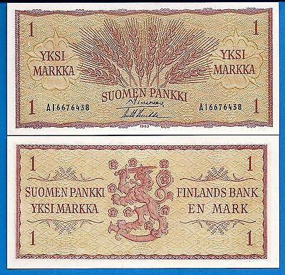 Finland P-98 One Markkaa Year 1963 Uncirculated Banknote FREE SHIPPING
