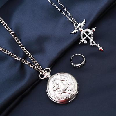 3xFull Alchemist Pocket Watch  Ring NecklaceEdward Elric Anime Cosplay Set Gift