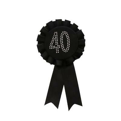 Diamante Number Rosette Badge Black - 40th Birthday