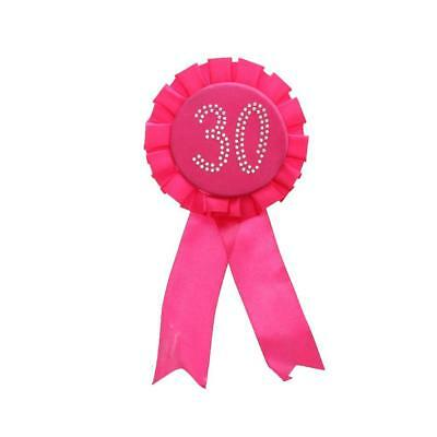Diamante Glitter Rose 30th Birthday Party Rosette Ribbon Accessories