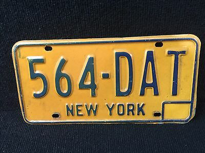 Vintage New York License Plate Yellow Metal
