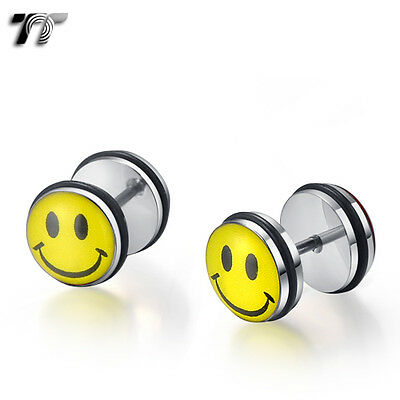 TT 10mm Clear Epoxy Stainless Steel Smile Face Fake Ear Plug Earrings (BC03) NEW