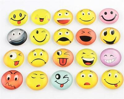 10 x ROUND EMOJI HAPPY FACE PRINTED CLEAR GLASS DOMED CABOCHONS 8mm