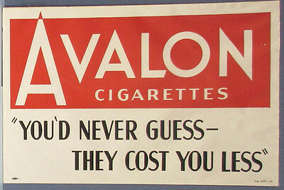 "1940 AVALON CIGARETTES PAPER SIGN OLD, UNUSED * FOR MAN CAVE FREE SHIP 12"" x 18"""