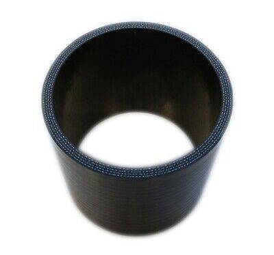 "BLACK Silicone Hose Coupler 80mm Straight (3.15"" Inch Silicon Joiner)"
