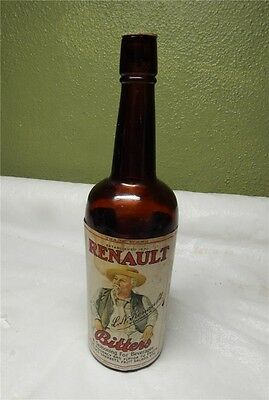 Antique Renault Bitters Bottle Fifth Size With Full Label And Lid