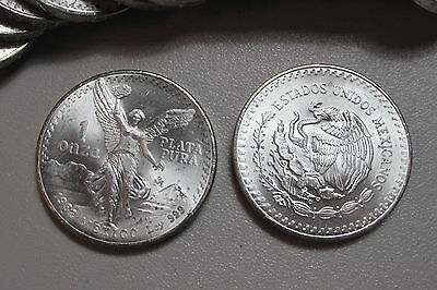 1982 Mexico Libertad 1 Onza .999 Silver Coin 1st Year Issue From BU Roll