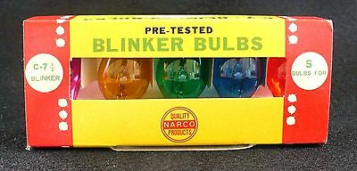 Vintage Christmas  C-7 1/2 Blinker Bulbs Pack Of 5 Colors Tested Working Narco