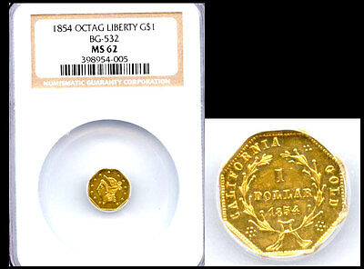 1854 $1 Bg-532 Ms62 Ngc-California Fractional Gold
