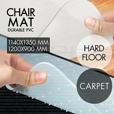 New Carpet Hard Floor Office Chair Mat Vinyl Plastic 1200 x 900mm 1350 x 1140mm