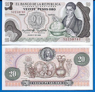Colombia P-409d 20 Pesos Oro Year 1.18.1983 Uncirculated FREE SHIPPING