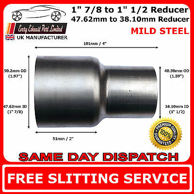 48mm to 38mm Mild Steel Standard Exhaust Reducer Connector Pipe Tube