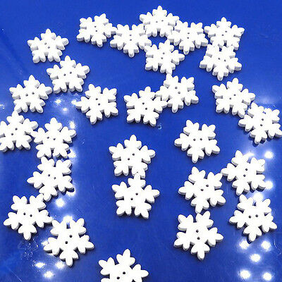 25/50/100pcs White Wooden Snowflake Buttons XMAS Sewing Card Scrapbook DIY