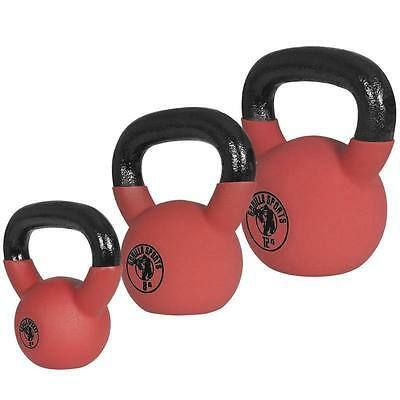 GORILLA SPORTS® Red Rubber Kettlebell Set 24kg (4+8+12kg) Vinyl Kugelhantel