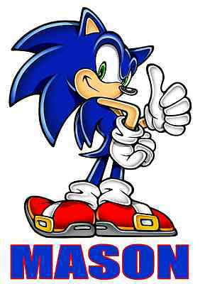"""Sonic the Hedgehog Personalized Iron On Transfer 5""""x7"""" For LIGHT Fabric"""