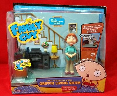 Family Guy Interactive World Griffin Living Room + Lois Action Figure Playmates