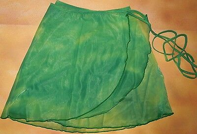 NWT Chiffon Self Tie Wrap Ballet Skirt Tie Dye Green Ladies Sizes 87194