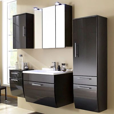 badezimmer komplett hochglanz anthrazit waschplatz waschtisch badm bel set eur 935 10. Black Bedroom Furniture Sets. Home Design Ideas