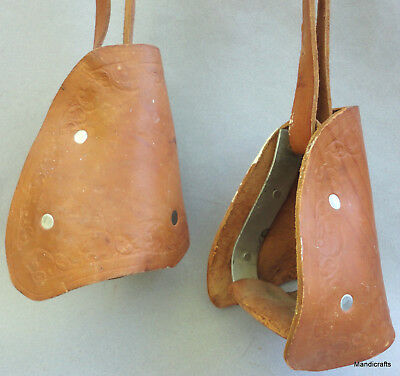 Gaucho Boot Stirrups Leather w Straps Tooled Mexico Cowboy Decor Metal Lined