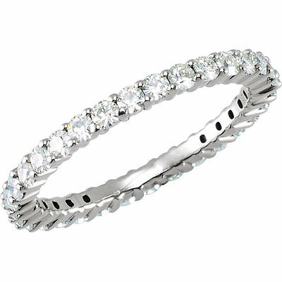 7/8 Ct Moissanite Round Brilliant Cut Eternity Wedding Band Ring 14k  Size 5