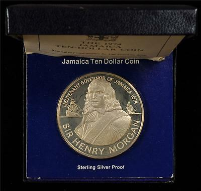 Jamaica 1974 10 Dollars Sir Henry Morgan Silver Proof In A Box