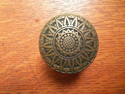 Antique Brass Victorian Doorknob by Russell and Erwin c1885 Sunburst