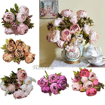 New Vintage 1 Bouquet 8 Heads Artificial Peony Silk Flower Leaf Home Party Decor