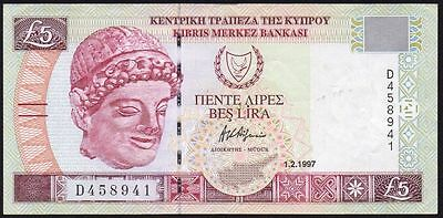 1997 CYPRUS £5 BANKNOTE * D 458941 * gVF * P-58 *